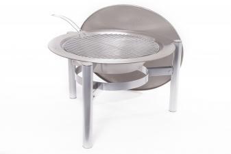 Mesa de exterior acero inox con brasero de leña y barbacoa