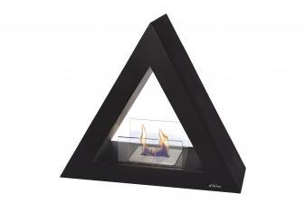 Biochimenea de suelo piramidal en acero lacado en negro