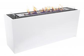Biochimenea modular de suelo para separar ambientes en acero lacado en blanco