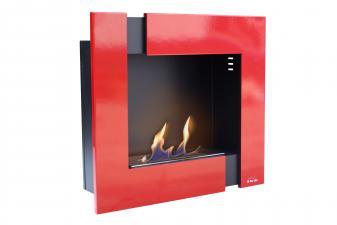 Biochimenea mural en acero esmaltado en rojo y negro con regulador de llama