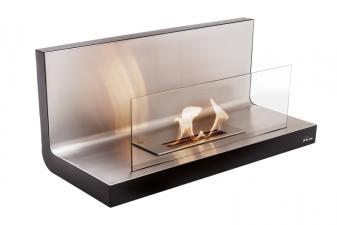 Biochimenea mural en acero y acero inox y cristal templado frontal