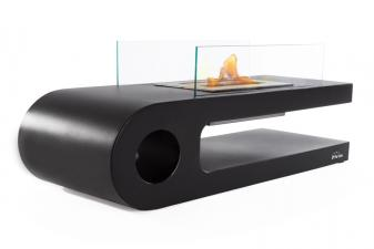 Biochimenea de suelo en acero lacado en negro con cristal templado