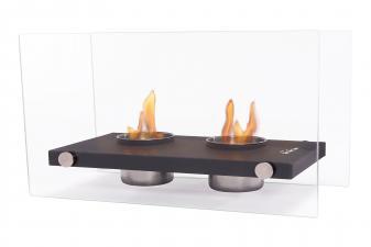 Chimenea Etanol de doble llama con vídrio templado