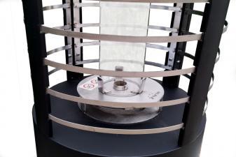 estufa de bioetanol con cristal cilíndrico de vidrio templado y bloque de combustión de acero inoxidable3025