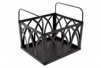Porta leña de acero color negro con asas para transporte
