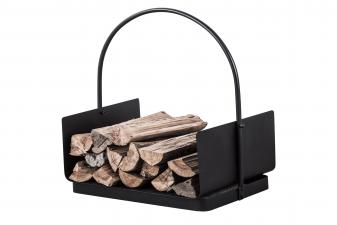 Porta leña de acero color negro con asa para transporte