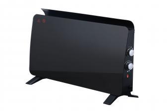 Radiador panel cristal templado color negro con esquinas redondeadas