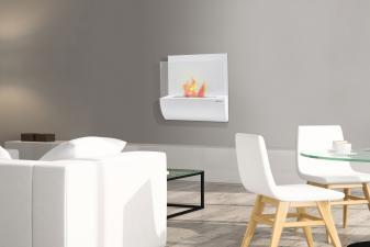 Biochimenea mural en acero esmaltado en blanco y cristal templado