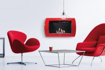 Biochimenea mural en acero color rojo frontal curvo