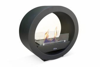 Biochimenea de suelo circular diseño moderno en acero lacado en negro