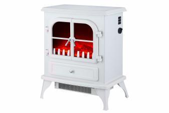 Chimenea Eléctrica de suelo tipo estufa tradicional de color blanco