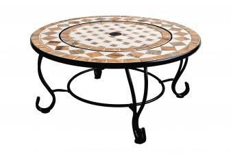 Mesa de centro redonda cerámica y mármol con brasero y barbacoa