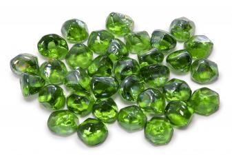 Cristal decorativo resistente al fuego con forma de diamante color verde