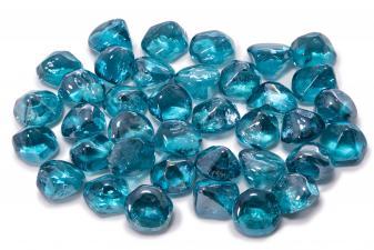Cristal decorativo resistente al fuego con forma de diamante color azul claro