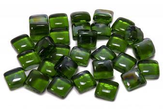 Cristal decorativo resistente al fuego con forma cuadrada color verde