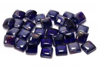 Cristal decorativo resistente al fuego con forma cuadrada color azul oscuro