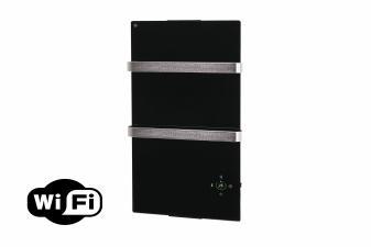 Radiador toallero eléctrico de cristal templado negro y control por App WIFI